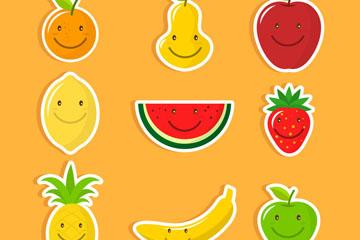 9款可爱微笑水果贴纸矢量图