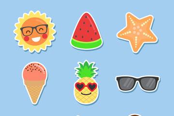 9款彩色夏季度假元素贴纸矢量素材