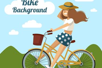 夏季骑单车的长发女子矢量素材