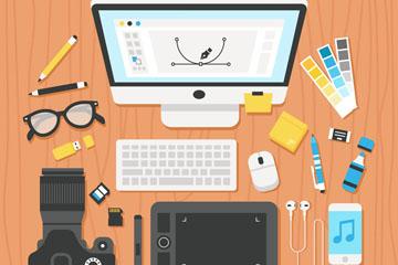 创意工作空间桌面设计矢量素材