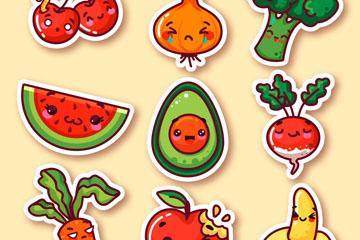 9款可爱表情蔬菜和水果贴纸矢量