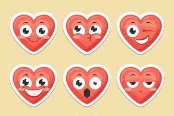 9款红色大眼睛爱心表情矢量素材