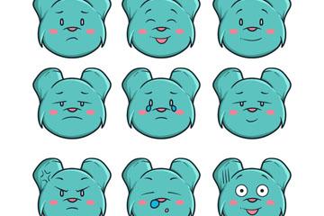 9款蓝色熊表情头像矢量素材