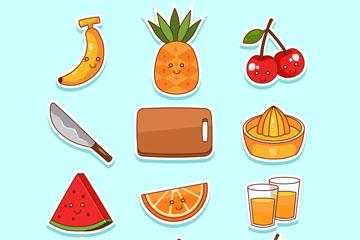 12款创意表情水果和榨汁工具贴纸矢量图