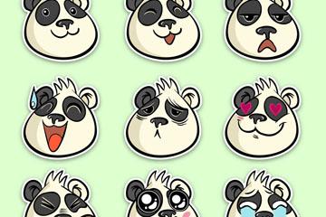 9款创意熊猫表情贴纸矢量素材