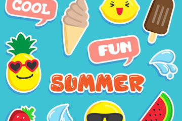 12款可爱夏季元素贴纸矢量图