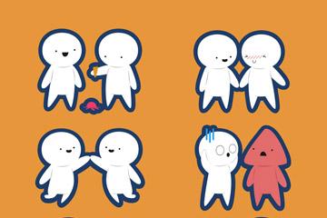 6对白色小人情侣设计矢量图
