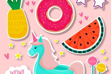 8款彩色食物和独角兽贴纸矢量图