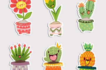 6款可爱植物盆栽贴纸矢量素材