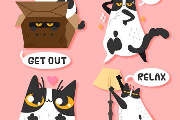 4款搞怪猫咪贴纸矢量素材