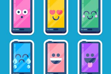 6款彩色表情手机贴纸矢量素材