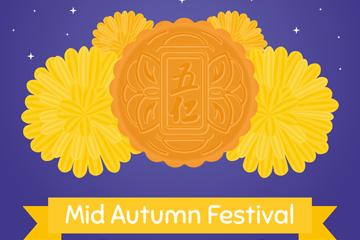 创意中秋节五仁月饼和菊花矢量图