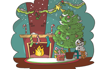 彩绘圣诞节客厅设计矢量素材