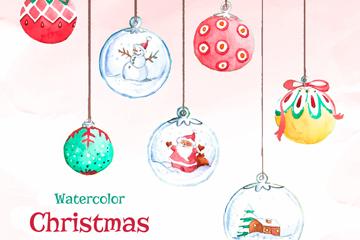 彩绘圣诞节吊球矢量素材