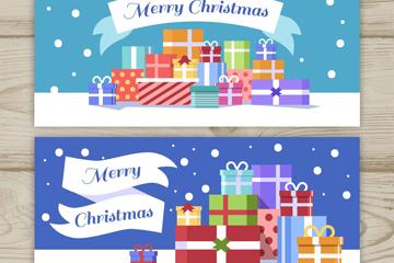 2款彩色圣诞节雪地礼盒banner矢量图