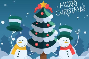 扁平化圣诞树和雪人矢量素材