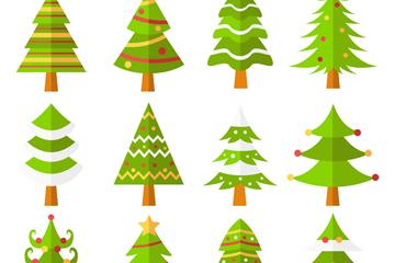12款扁平化绿色圣诞树矢量图