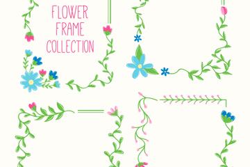 4款彩色方形花卉框架矢量素材