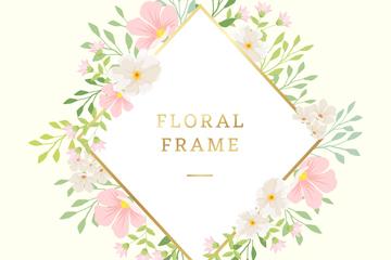 创意花卉装饰菱形框架矢量素材