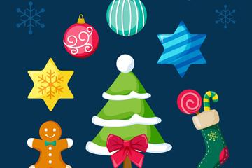 7款彩色圣诞装饰物设计矢量图