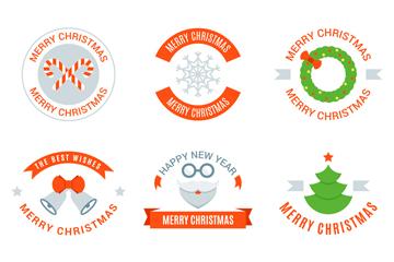 9款彩色圣诞节快乐标签矢量素材