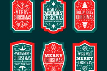 6款红色圣诞节快乐标签矢量素材