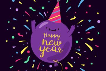 紫色新年快乐怪物气球矢量素材