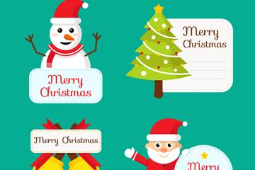 4款可爱圣诞节标签矢量素材