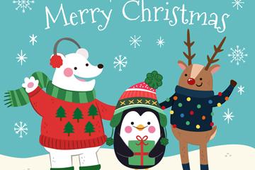 彩绘圣诞节雪地熊鹿和企鹅矢量图