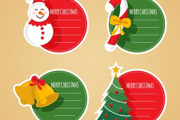 4款创意圣诞节空白留言标签矢量图