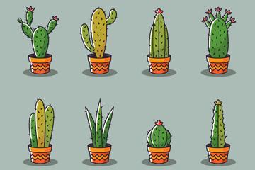 8款创意仙人掌盆栽矢量素材