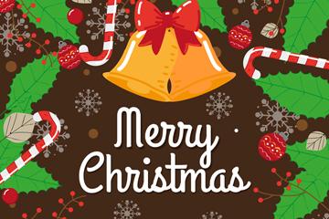 彩色圣诞节铃铛和槲寄生矢量图