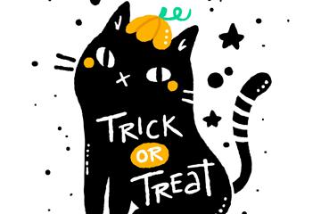 彩绘万圣节黑色猫咪矢量素材