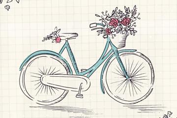 彩绘单车和花卉矢量素材