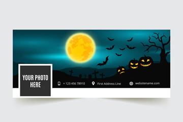 创意万圣夜脸书封面图片矢量素材