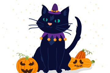 可爱万圣节黑猫和南瓜头矢量图
