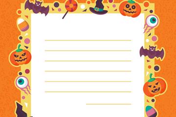 创意万圣节空白信纸矢量素材