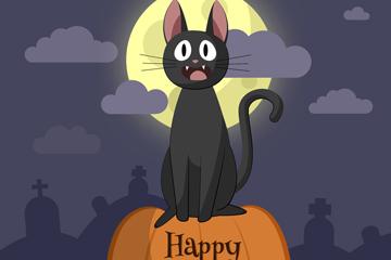 可爱万圣节夜晚黑猫矢量素材