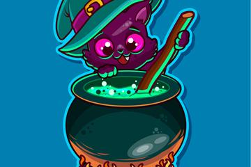 卡通熬魔法药水的黑猫矢量素材