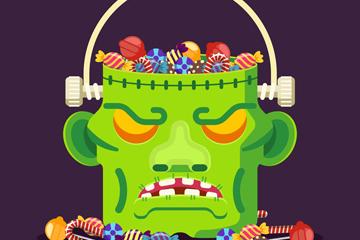 创意装满糖果的科学怪人篮子矢量
