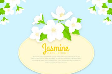 白色茉莉花标签矢量素材