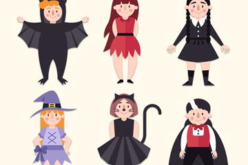 6款可爱万圣节装扮儿童矢量素材