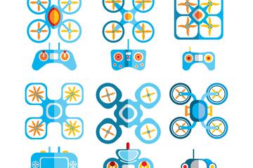 6组扁平化蓝色无人机矢量素材