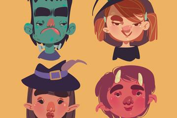 4款彩绘万圣节角色头像矢量素材