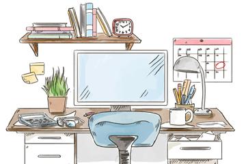 彩绘书房办公桌矢量素材