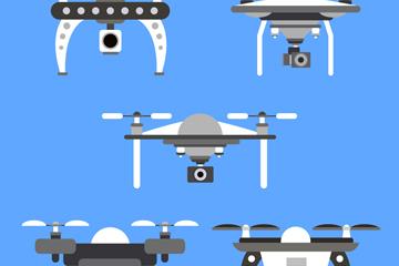 5款黑色无人机设计矢量素材