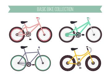 6款彩色单车设计矢量素材