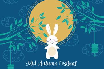 彩绘中秋节月亮下的白兔矢量素材