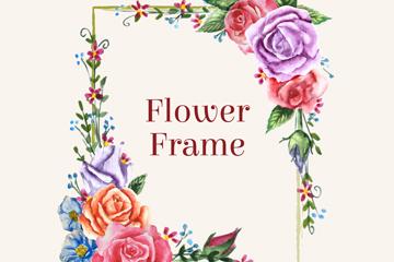 彩绘方形玫瑰花框架设计矢量图