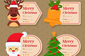4款可爱圣诞节留言标签矢量素材